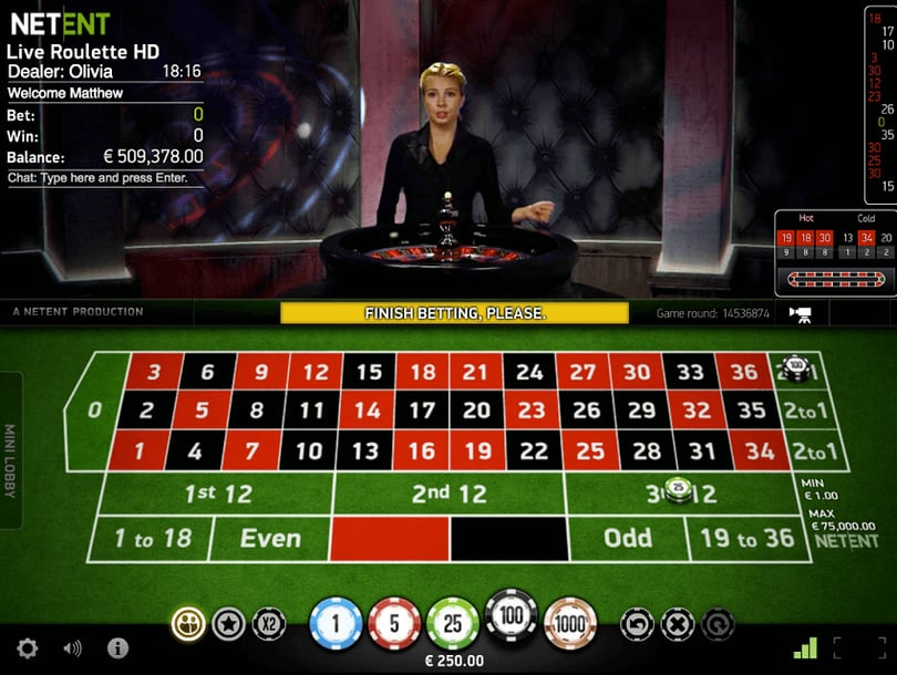 roulette live casino table